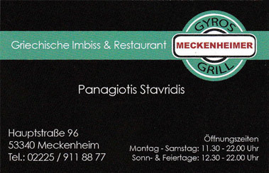 Meckenheimer Grill Visitenkarte
